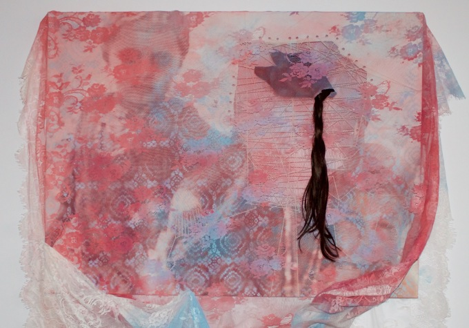 The hair, the veil and the bitter onion, 2019, mixed media painting with veil, unframed, 100 x 100 cm, £1200